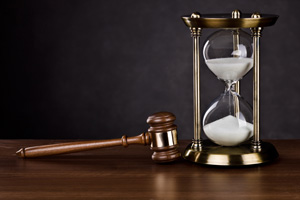 Law gavel and hour glass