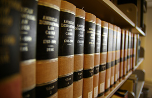 Shelf full of law books
