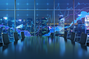 Cityscape at night with graph