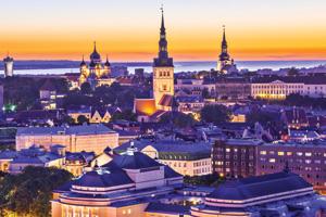 Skyline of Tallinn, Estonia at sunset