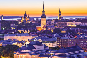 Skyline of Tallinn, Estonia at sunset