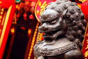 Lion statue in Chinese temple