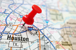 Houston pin pointed on map