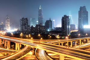 Busy roads in the city of Shanghai