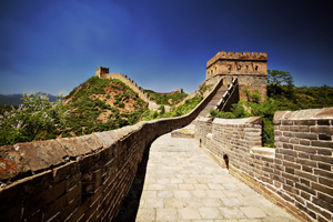 Great wall of China in the sunlight