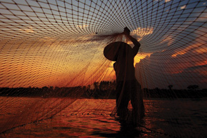 Persion in Mekong river with net