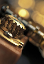 Close up of classic guitar tuning mechanism