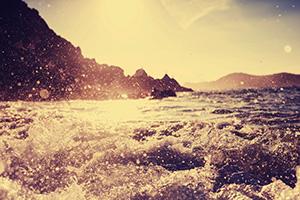 Rough seas causing crashing waves