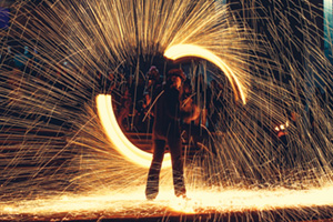 Spark show in the dark