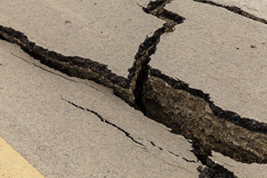 Big crack in the road due to earth quake