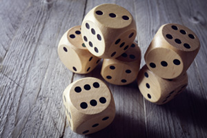 Bunch of wooden dice