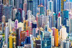 Skyscapers in the city of Hong Kong, China