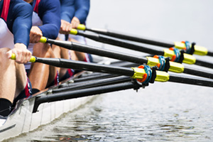 Team of rowers during a race