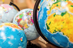Bunch of classroom globes