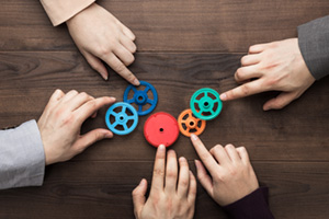 Hands of men and women connecting colourful gears into working mechanism