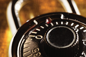 Close up of combination lock