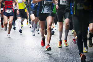 Marathon runners competing