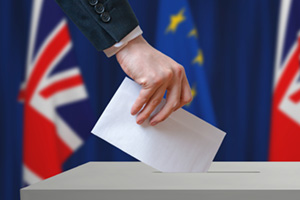 Person voting in the EU referendum