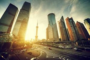 Road in Shanghai, Lujiazui financial center in China