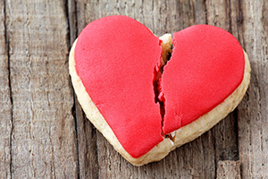 Cracked heart shaped cookie