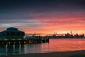 Sunset over harbor at Auckland