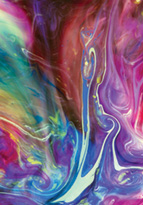 Colourful liquid running into each other