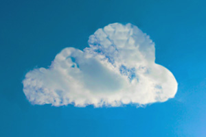 Cloud computing symbol made from real cloud