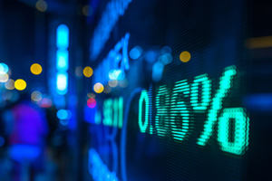 Stock market numbers on screen