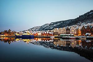 Wooden coloured houses in Bergen, Norway