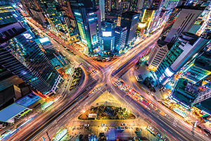 Looking down on a major interstection at night in South Korea