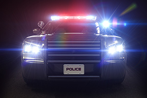 Police car with all lights glaring