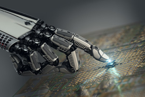 Robot hand touching digital circuit board