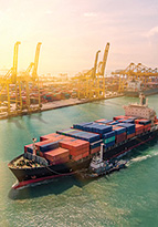 Container ship importing contents