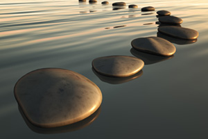 Stepping stones out in the water