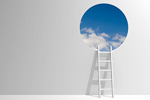 Ladder leading out from boring room to blue sky