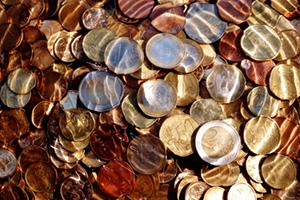 Euro coins under water