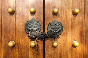 Locked traditional Chinese door