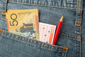 Australian money and lottery slip in back pocket