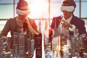 Two business people developing project using virtual reality