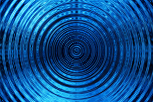 Ripples in water made by vibrations