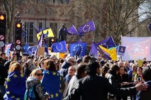 Protesters rally against BREXIT in front of Parliament in London, England, March 2017