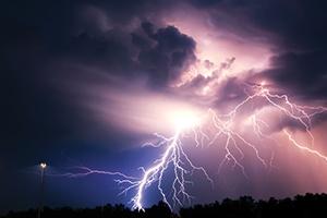 Lightning highlighting the night sky