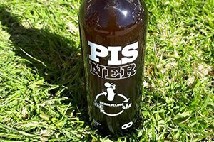 Pisner bottle sat on some grass.