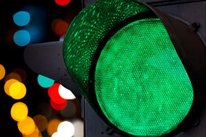 Close up of green traffic light