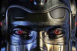Close up of robotic face with red eyes