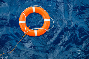 Buoy floating on sea to rescue people from drowning