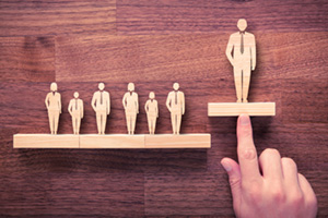 Business leader concept with person rising up to the job