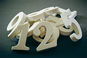 Pile of wooden numbers