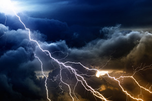 Lightning illuminating the sky
