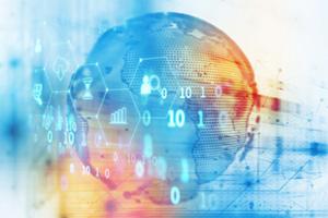 Digital globe symbolising virtual data